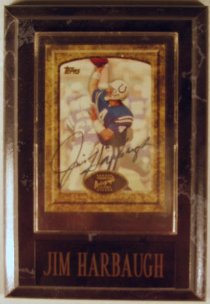 1007: Jim Harbaugh: sgnd card plaque - Appraised at $63