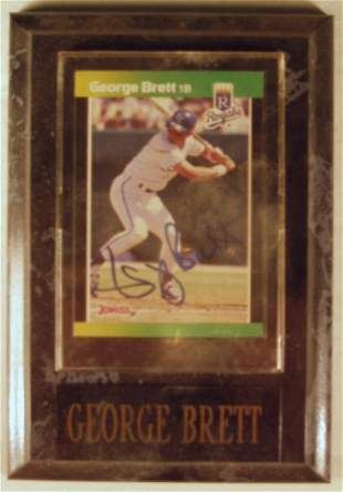 George Brett: sgnd card plaque - Appraised at $69