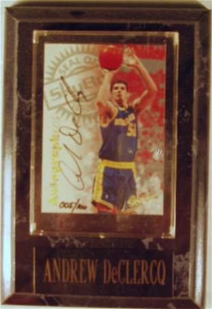 Andrew DeClercq: sgnd card plaque - Appraised at