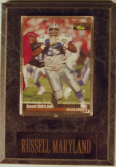 1016: Russell Maryland: sgnd card plaque - Appraised at