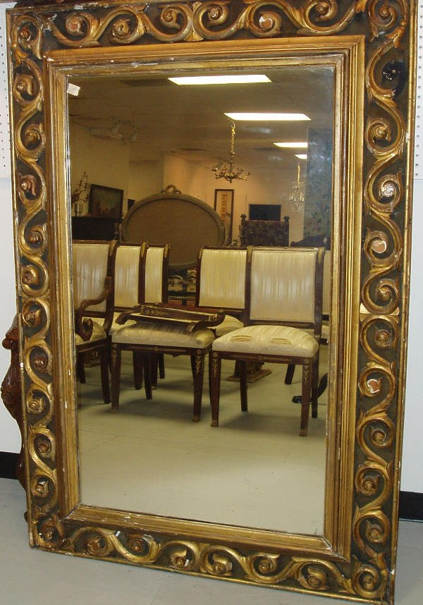 2024: 19THc GILT WOOD FRAMED MIRROR W/ ORIG. LABEL JOSE