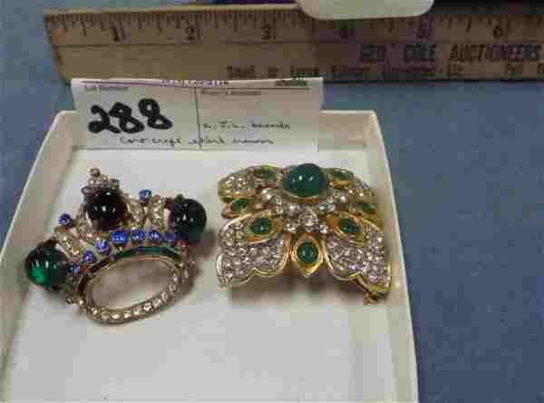 LOT 2 COSTUME JEWELRY BROOCHES- STERL CROWN BY CORO