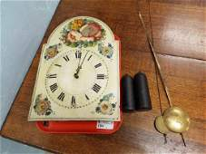 19th c. WOODEN PTD. FACE, WAG ON WALL CLOCK