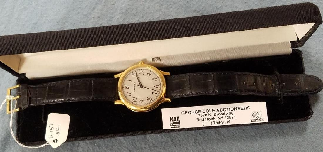 18K L.LEROY 18K MEN'S WRISTWATCH W/ ALLIGATOR STRAP