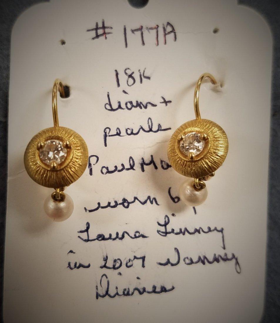 18 K DIAM & PEARL PAUL MORELLI EARRINGS WORN BY LAURA