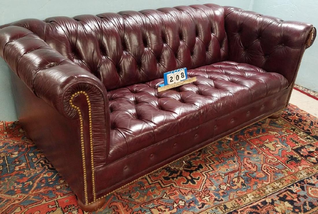 """RED LEATHER CHESTERFIELD SOFA 7'3"""""""