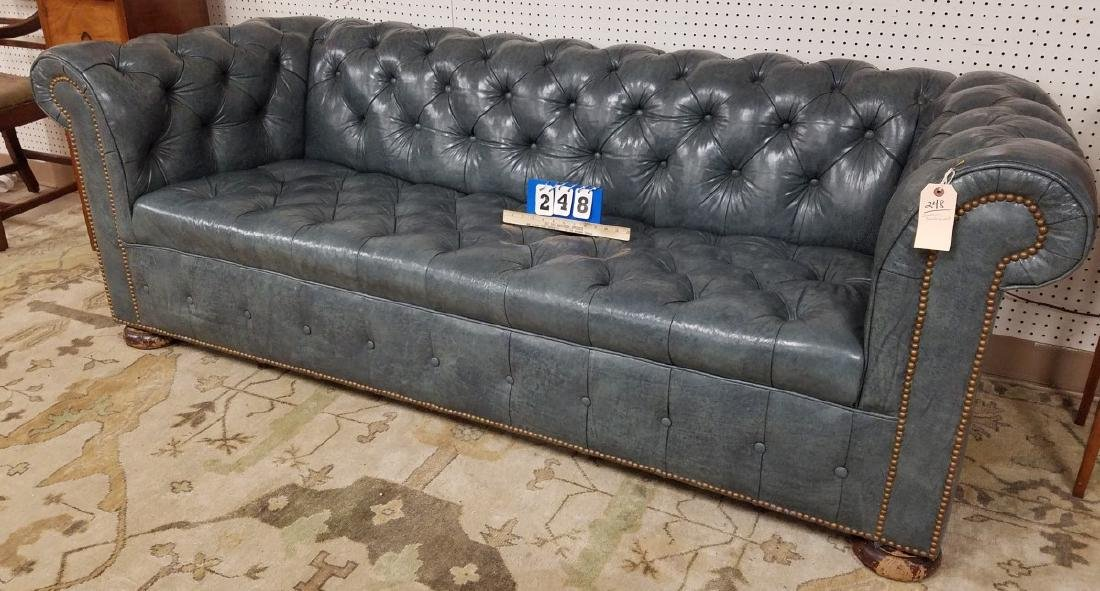 7' BLUE LEATHER CHESTERFIELD SOFA