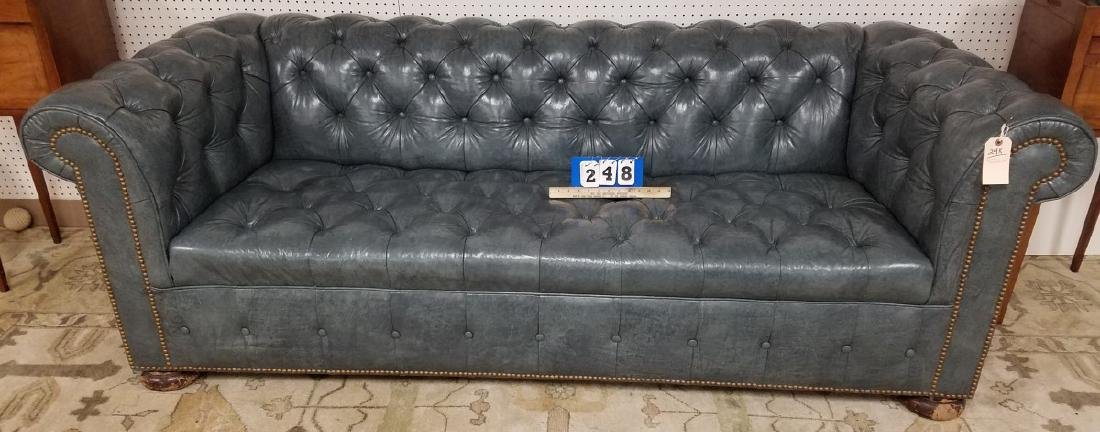 7' BLUE LEATHER CHESTERFIELD SOFA - 2