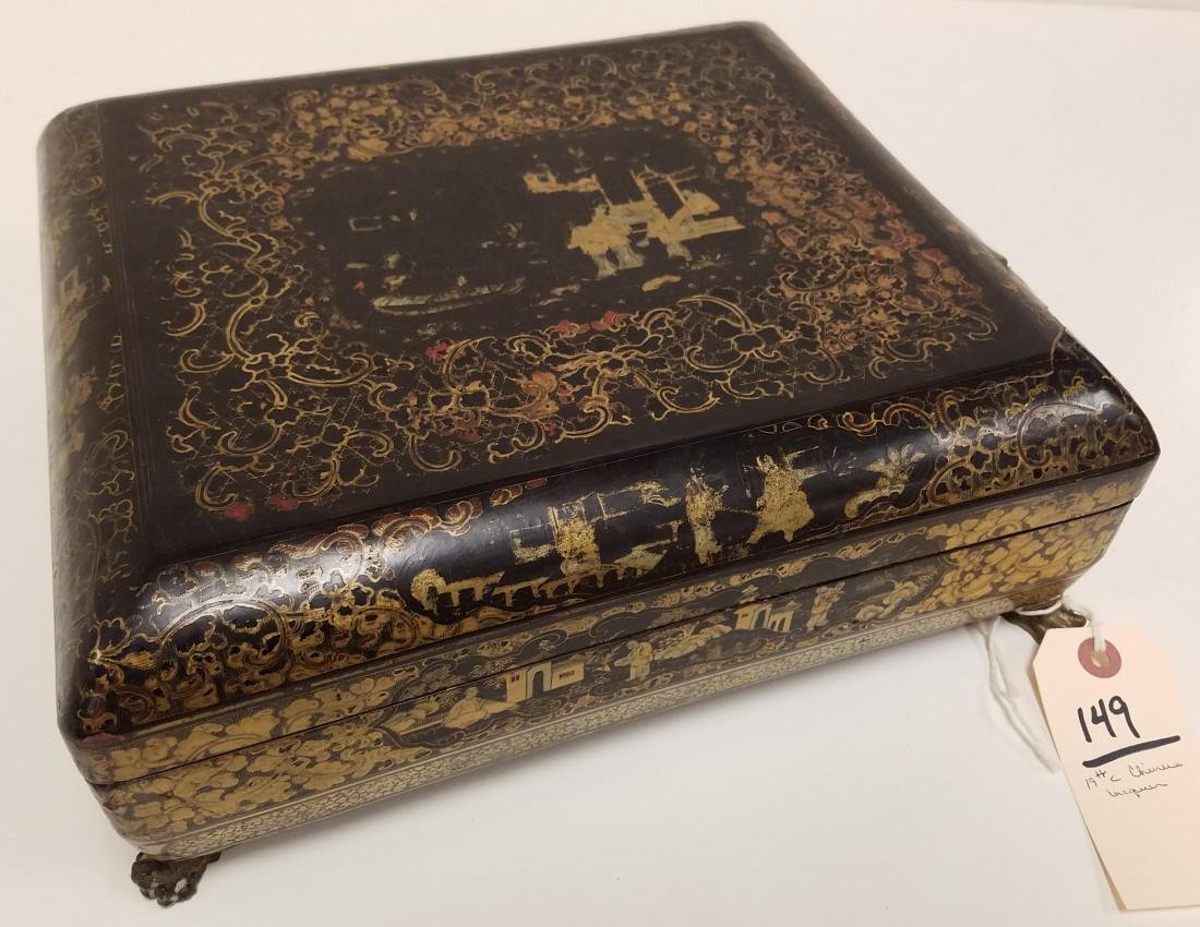 19th c, CHINESE LACQUER FOOTED BOX W/ FITTED INTERIOR,