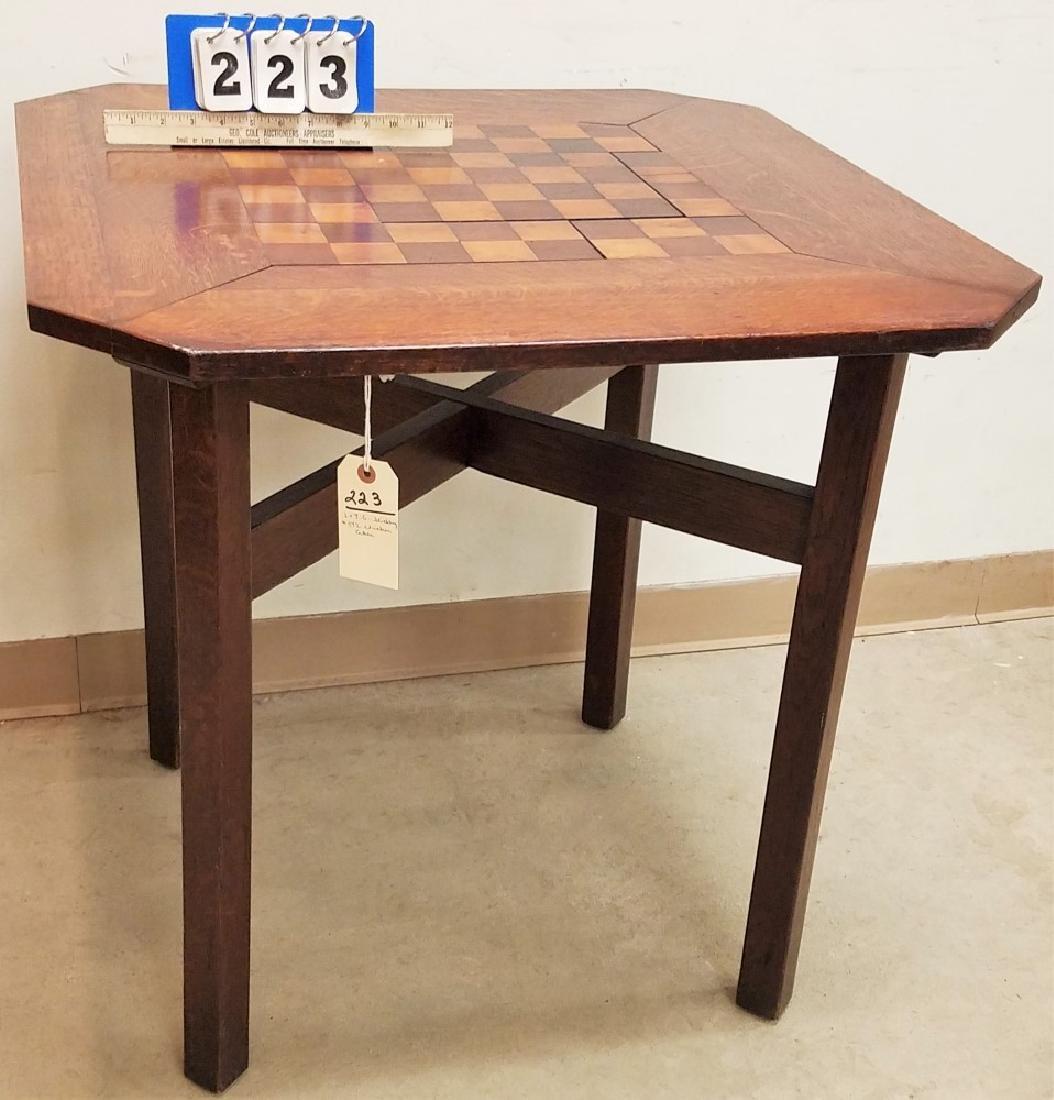 "L+J.G STICKLEY #572 CHECKER TABLE 29""H X 30"" X 30"""