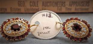 PR 14K EARRINGS W/ GARNETS