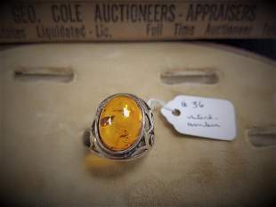 STERL RING W/ CABOCHON AMBER