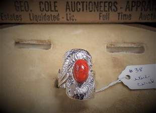 STERL RING W/ CORAL