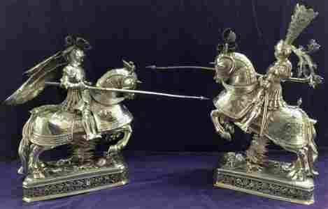 PR. STERL. CENTERPIECES-KNIGHTS ON HORSEBACK, W/ INSET