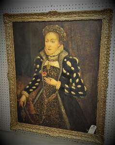 EARLY PORTRAIT ELIZABETHAN NOBLE WOMAN OAK PANEL