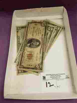 LOT 9 $5 BILLS- 8 SILVER CUT, NATIONAL CURRENCY BANK OF