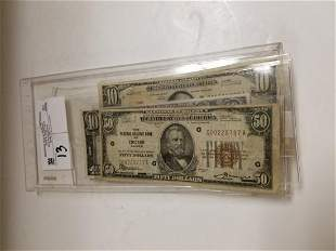 4 US CURRENCY $50 FED RESERVE BANK OF CHICAGO, $20 FED