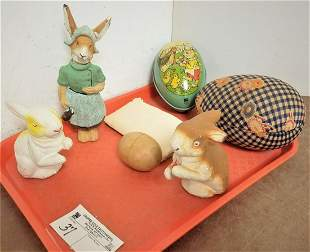 TRAY EARLY EASTER ITEMS- 3 RABBIT CANDY CONTAINERS,