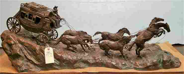 """BRONZE STAGECOACH SGND. C.M. RUSSELL, 15""""H X 42""""L"""