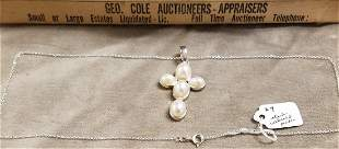 STERL. NECKLACE W/ STERL. CROSS PENDANT W/ CULTURED