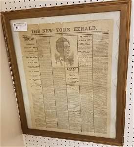 FRAMED THE NEW YORK HERALD, APRIL 15, 1865; NEWSPAPER