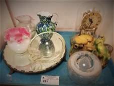 TRAY ART GLASS, SILVERPLATE MIRRORED PLATEAU BULOVA