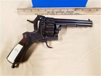 "French Lefaucheux Large 20 Shot Revolver - 4 13/16""bbl"