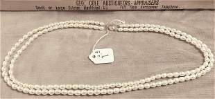"""DOUBLE STRAND PEARL NECKLACE W/14K CLASP 17"""""""