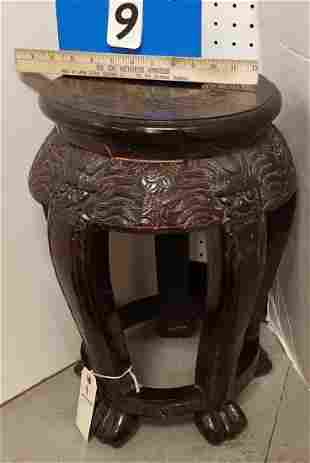 """CHINESE CARVED STAND 19""""H X13"""" DIAM"""