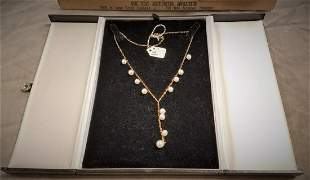 """14K NECKLACE W/12 PEARL DROPS 16"""""""