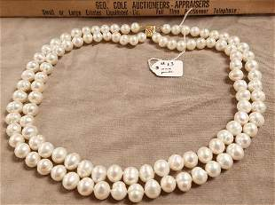 """DOUBLE STRAND 10MM PEARL NECKLACE W/14K CLASP 17"""""""