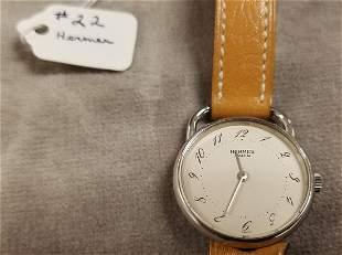 HERMES PARIS STAINLESS WRIST WATCH #17867