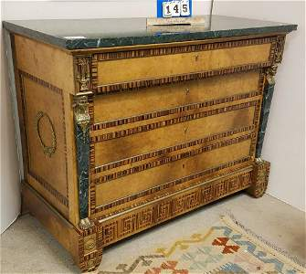 LOUIS-PHILIPPE GILT BRASS MOUNTED MARBLE TOP COMMODE W/