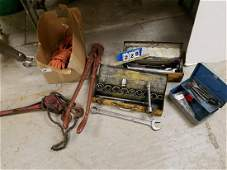 LOT TOOLS- WRENCHES, SOCKET SETS, PIPE WRENCH, HK