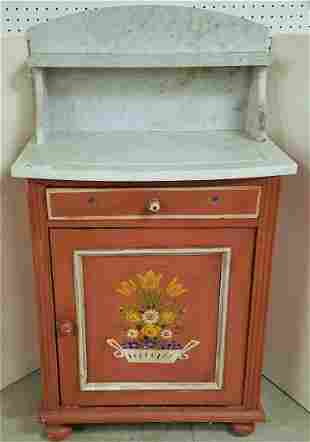 """19th c. PTD. MARBLE TOP WASH STAND 42.5""""H X 25""""W X 17""""D"""