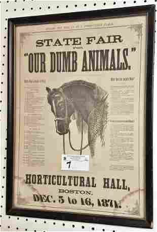 """FRAMED 1871 LITHO, """"FOR THE CALL TO PREVENT ANIMAL"""
