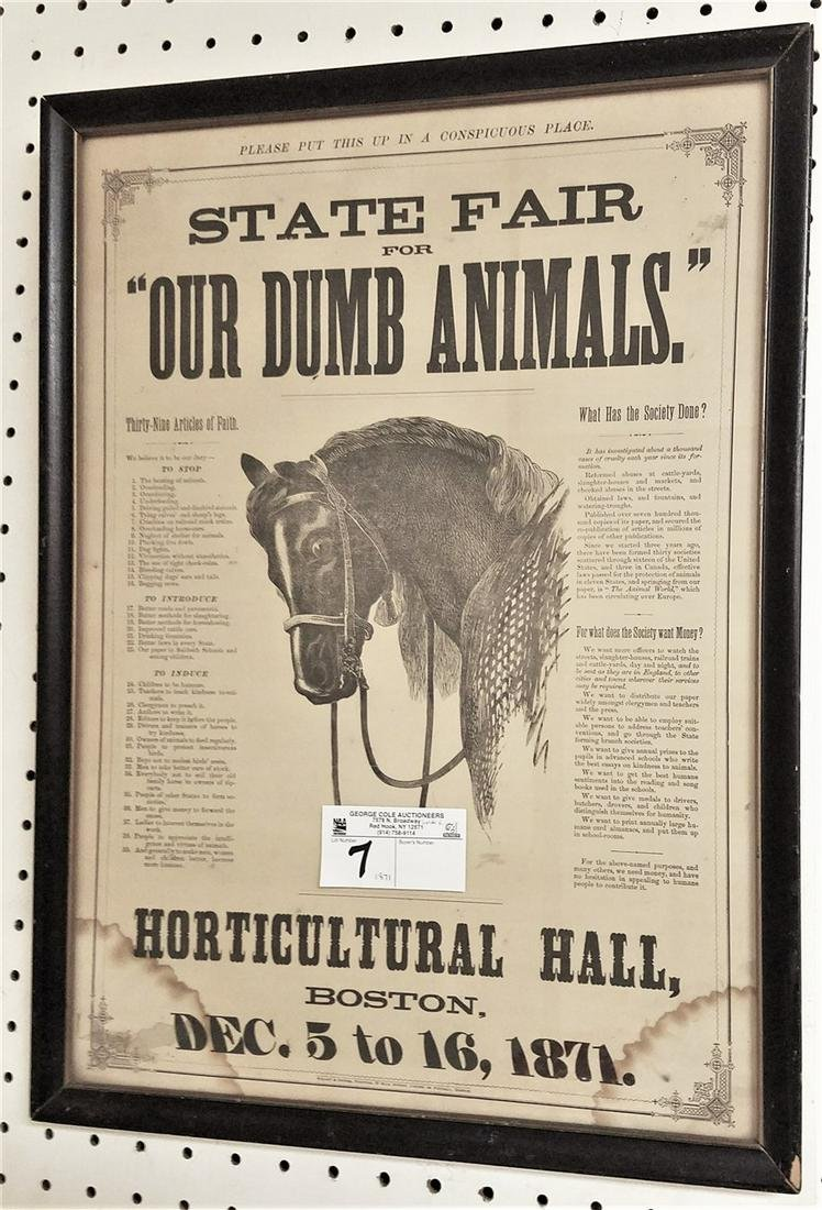 "FRAMED 1871 LITHO, ""FOR THE CALL TO PREVENT ANIMAL"