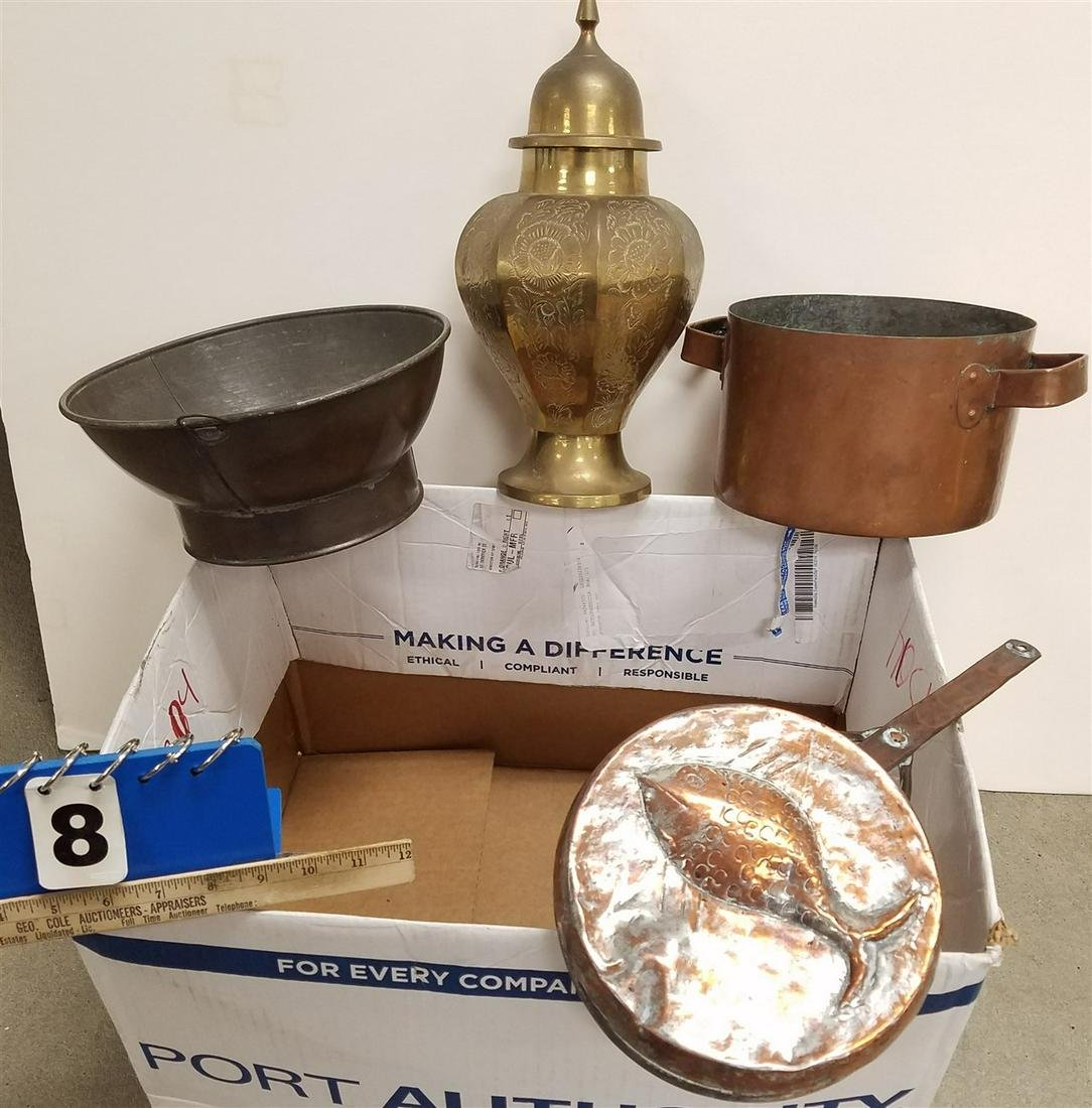 BX. COPPER POT, PAN, BOWL + BRASS COVERED JAR