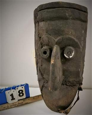 """CARVED WOODEN MASK, 18.5""""H X 10""""W"""