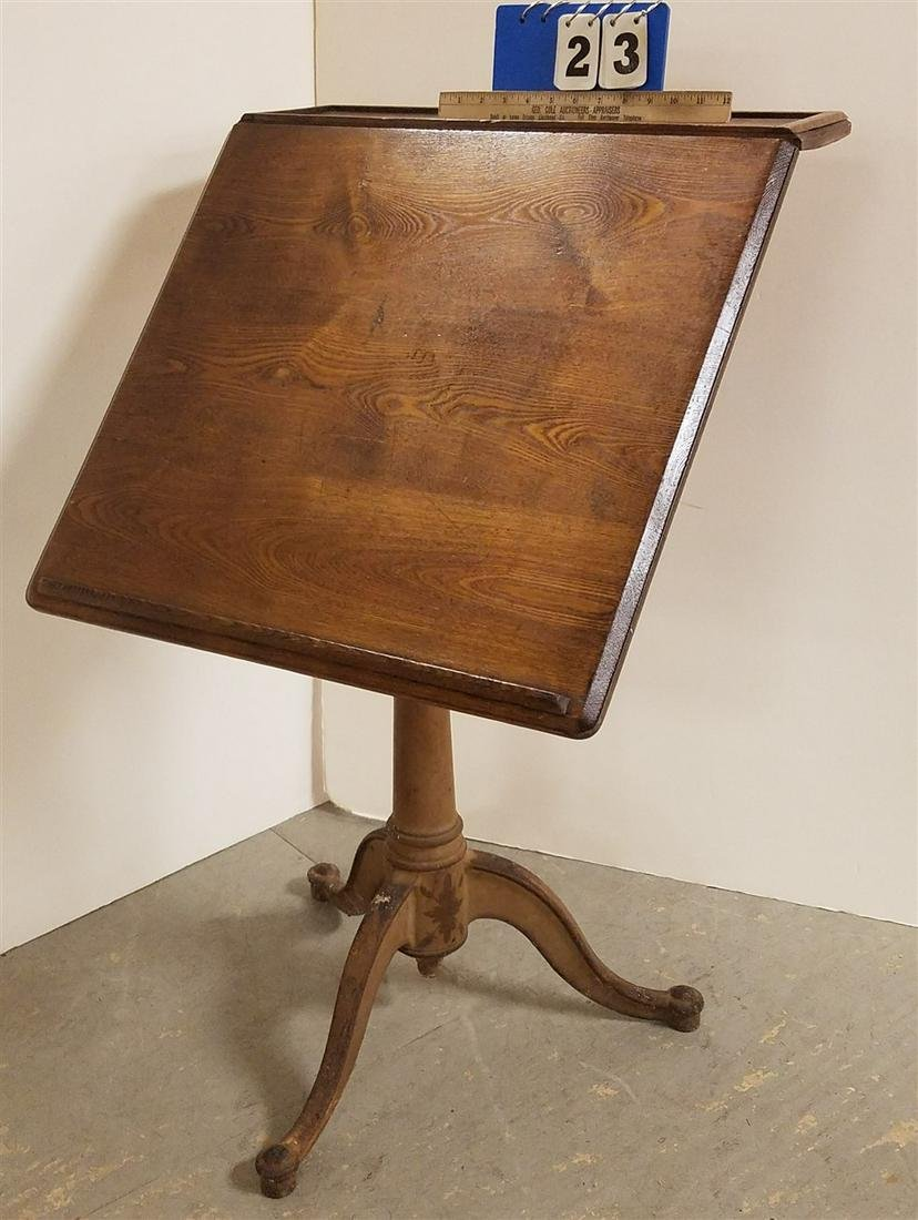 19th c. CAST IRON BRASS DRAFTING TABLE W/ ADJUSTABLE