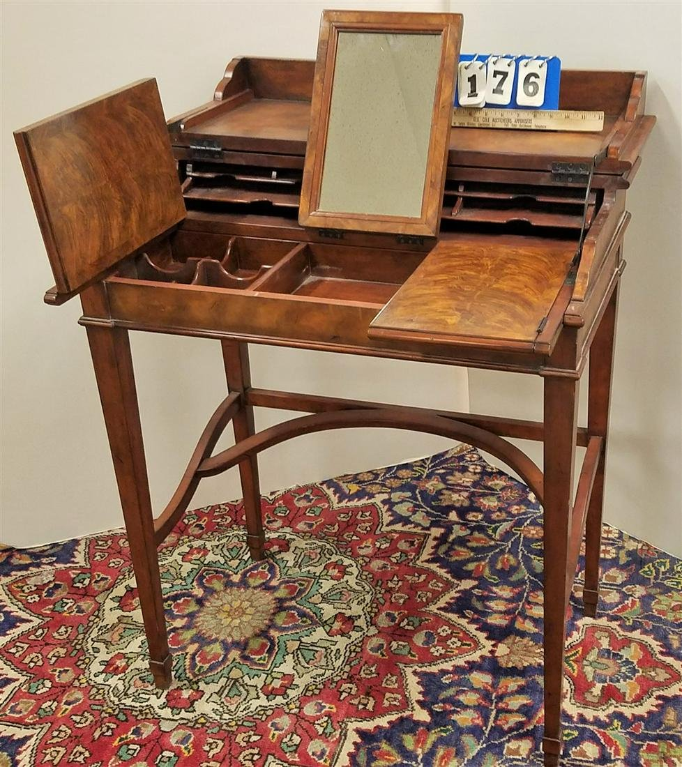 THEODORE ALEXANDER CAMPAIGN DRESSING TABLE, WALNUT &