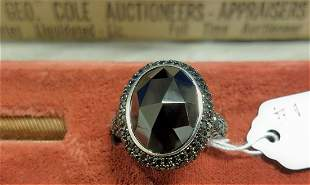 STERL. RING W/ BLACK SPINEL