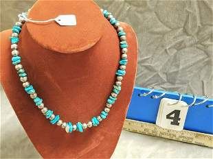 NATIVE AMER. SILVER + TURQUOISE NECKLACE