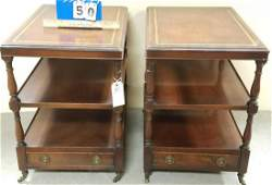 """PR. 3 TIER MAHOG. LEATHER TOP 1 DRAWER END STANDS, 24""""H"""