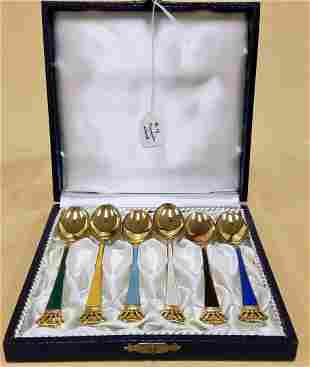 BX'D SET OF 6 DANISH STERL. & ENAMEL SPOONS, 1.89 OZT