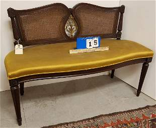 MAHOG. BENCH W/ CANE PANELS + ORMOLU CENTER SLAT,