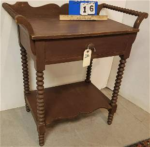 19TH CENTURY SAUSAGE TURNED 1 DRAWER WASH STAND 31 1/2""