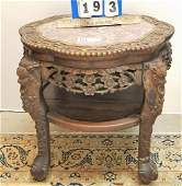 19th c CHINESE MARBLE TOP 2 TIER STAND 22H X 2175