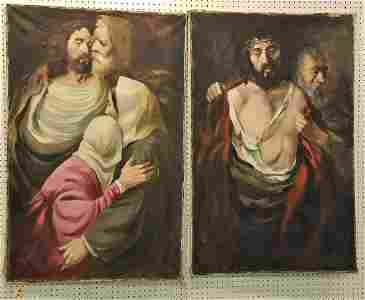 "3 UNFRAMED O/C RELIGIOUS SGND. 2-50"" X 32"", + 24"" X 36"""