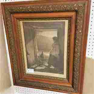 VICTORIAN FRAMED ENGRAVING FISHERMAN'S DAUGHTER
